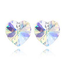 Бижута SWAROVSKI® VALENTINE HEART Crystal AB, Бял цвят, Колие и обеци (14 и 10 мм),  Код PR S125