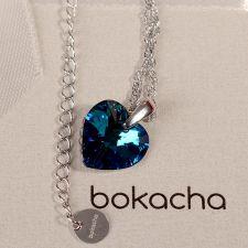 Колие с кристали Swarovski® HEART Bermuda Blue BBL 14 мм, Син цвят, Код PR N002B