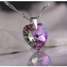 Колие с кристали Swarovski® HEART Vitrail Light** VL 14 мм, Лилаво-зелен цвят, Код PR N003B