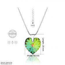 Бижута с кристали Swarovski® HEART Vitrail Medium** VM, Зелен цвят, Колие и обеци (14 и 10 мм),  Код PRFNL S004B