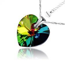 Колие SWAROVSKI® HEART Vitrail Medium** VM 14 мм, Зелен цвят, Код PR N004B
