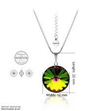 Бижута с кристали Swarovski® RIVOLI Vitrail Medium** VM, Зелен цвят, Колие, обеци и пръстен (12мм, 8мм и 12мм),  Код PR S024A-3