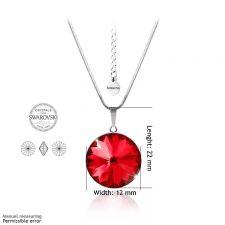 Бижута с кристали Swarovski® RIVOLI Light Siam АВ - Червен цвят, Колие с обеци на винт (12мм и 8мм),  Код PR S025A