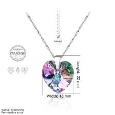 Колие SWAROVSKI® BIG HEART Vitrail Light** VL 18 мм, Лилаво-зелен, Код PR N033