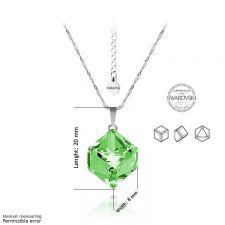 Бижута SWAROVSKI® CUBE Peridot - Зелен, Колие 8мм и Обеци 4мм,  Код PR S044