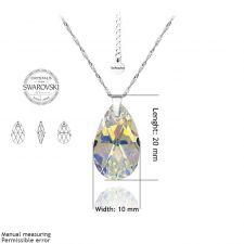 Бижута с кристали Swarovski® PEAR DROP Crystal AB, Бял, Колие и Обеци, 16мм, Код PR S101