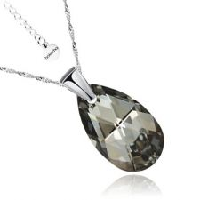 Колие с кристали Swarovski® PEAR DROP 16мм Silver Night** AB - Черен, Код PR N108A