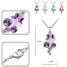 Колие с кристали Swarovski® FLORAL Crystal AB, Бял, Код PR N117