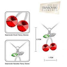 Колие с кристали Swarovski® CHERRY RIVOLI Light Siam АВ - Червен цвят, Код PR N120