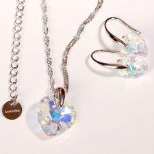 Колие с кристали Swarovski® HEART Crystal AB 14 мм, Бял цвят, Код PR N001B