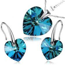 Бижута с кристали Swarovski® HEART Bermuda Blue BBL, Син цвят, Колие и обеци (14 и 10 мм),  Код PR S002B