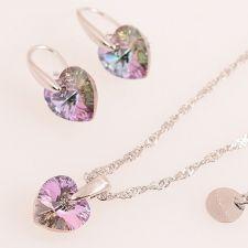 Обеци с кристали Swarovski® HEART Vitrail Light** VL 10 мм, Лилаво-зелен цвят, Код PR E003B