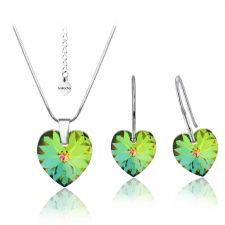 Бижута SWAROVSKI® HEART Vitrail Medium** VM, Зелен цвят, Колие и обеци (14 и 10 мм),  Код PR S004