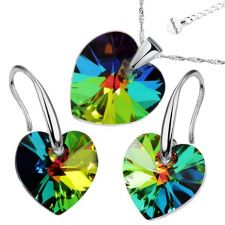 Бижута с кристали Swarovski® HEART Vitrail Medium** VM, Зелен цвят, Колие и обеци (14 и 10 мм),  Код PR S004B