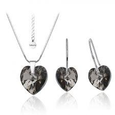 Бижута SWAROVSKI® HEART Silver Night** AB - Черен, Колие и обеци (14 и 10мм),  Код PR S008