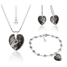 Бижута с кристали Swarovski® HEART Silver Night** AB - Черен, Колие,обеци и гривна (14, 10, 10 мм),  Код PR S008A