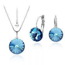 Бижута с кристали Swarovski® RIVOLI Aquamarine AB - Светло син, Колие и обеци 12мм,  Код PR S020