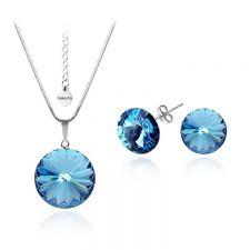 Бижута с кристали Swarovski® RIVOLI Aquamarine AB - Светло син, Колие с обеци на винт (12мм и 8мм),  Код PR S020A