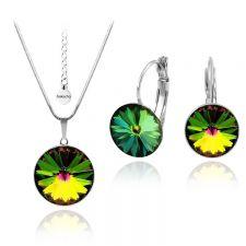 Бижута с кристали Swarovski® RIVOLI Vitrail Medium** VM, Зелен цвят, Колие и обеци 12мм,  Код PR S024