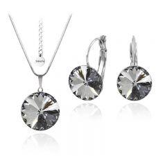 Бижута с кристали Swarovski® RIVOLI Silver Night** AB - Черен, Колие и обеци 12мм,  Код PR S028