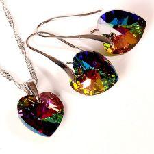 Бижута с кристали Swarovski® BIG HEART Vitrail Medium** VM, Зелен, Колие и обеци 14 мм,  Код PR S034B
