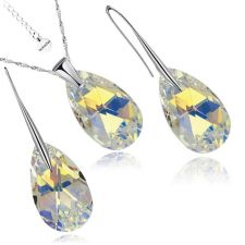 Бижута с кристали Swarovski® PEAR DROP Crystal AB, Бял, Колие и Обеци, 16мм, Код PR S101A