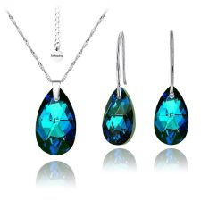 Бижута с кристали Swarovski® PEAR DROP Bermuda Blue BBL, Син, Колие и Обеци, 16мм, Код PR S102