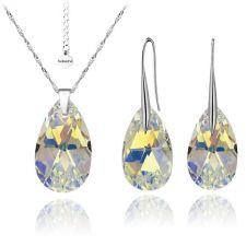 Бижута с кристали Swarovski® BIG PEAR DROP Crystal AB, Бял, Колие и Обеци, 22мм, Код PR S111