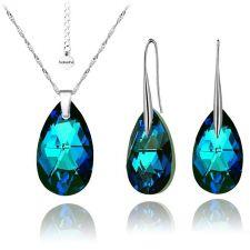 Бижута с кристали Swarovski® BIG PEAR DROP Bermuda Blue BBL, Син, Колие и Обеци, 22мм, Код PR S112