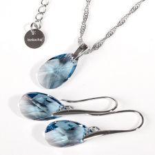 Бижута с кристали Swarovski® PEAR DROP Aquamarine  - Светло син, Колие и Обеци, 16мм, Код PR S100A