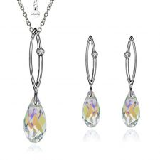 Бижута SHINE SWAROVSKI® BRIOLETTE Crystal, Бял цвят, Колие и обеци 11мм,  Код PR S320