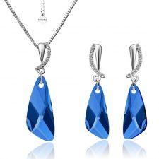Бижута CRYSTAL SWAROVSKI® WING Capri Blue - Син, Колие и Обеци, 23мм, Код PR S331