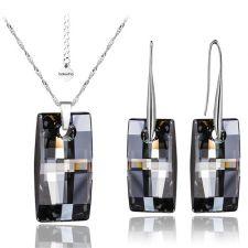 Бижута с кристали Swarovski® URBAN 20мм Silver Night** AB - Черен,  Код PR S352