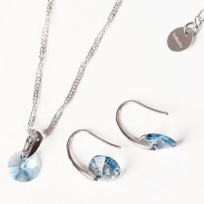 FINAL SALE! Бижута с кристали Swarovski® RIVOLI Aquamarine AB - Светло син, Колие и обеци 8мм, Код PR S374