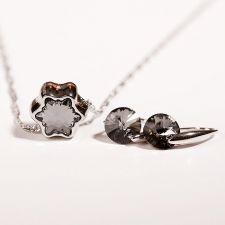 Бижута с кристали Swarovski® ПАДАЩА ЗВЕЗДА PAVE BEADS Silver Night** AB - Черен, Колие 13,5мм и Обеци 8мм,  Код PR S375