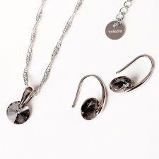 FINAL SALE! Бижута с кристали Swarovski® RIVOLI Silver Night** AB - Черен, Колие и обеци 8мм, Код PR S375A
