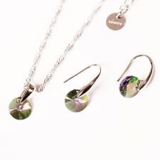 Бижута с кристали Swarovski® RIVOLI Vitrail Light** VL, Лилаво-зелен, Колие и обеци 8мм, Код PR S381