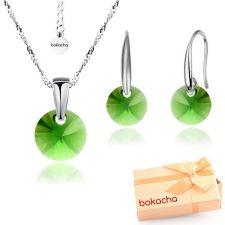 Бижута с кристали Swarovski® RIVOLI Emerald**, Зелен, Колие и обеци 8мм, Код PR S377