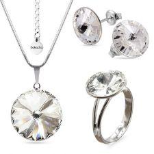 Бижута с кристали Swarovski® RIVOLI Crystal AB, Бял, Колие, обеци и пръстен (12мм, 8мм и 12мм),  Код PR S021A-3