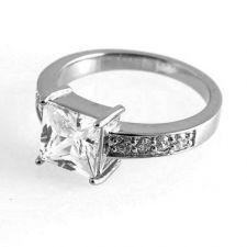"""Пръстен КАЖИ МИ """"ДА"""" от стомана с кристален цирконий. Годежен пръстен! 316L R015"""
