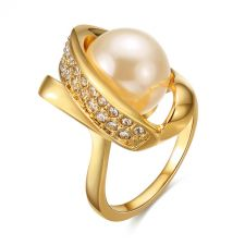 Дамски пръстен НЕЖНА ПЕРЛА Zerga Jewelry - жълто златно покритие, 18KG R54190