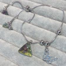 Гривна с кристали Swarovski® TRIANGLE Vitrail Light** VL, Лилаво-зелен,16мм и 8мм, Код PR B353