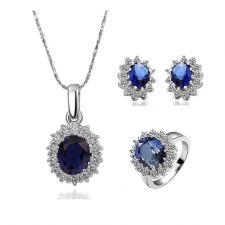 Комплект бижута КЕЙТ. Колие, обици и пръстен от Zerga Jewelry, син камък, 18KGFNO S09821