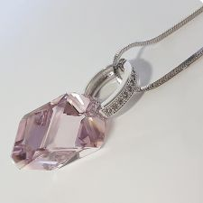 Колие Swarovski® CUBIST 22мм Light Amethyst, Розов цвят, Код PR N498