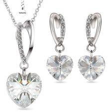 Бижута VALENTINE SWAROVSKI® WHITE HEART Crystal, Бял цвят, Колие и обеци (14 и 10 мм),  Код PR S431