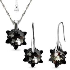Бижута  с кристали Swarovski® EDELWEISS Колие и Обеци 14мм, Silver Night** AB - Черен, Код PR S602