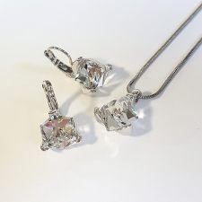 Бижута  декорирани със SWAROVSKI® CUBE Crystal, Бял, Колие и Обеци, 8мм, Код PR S582