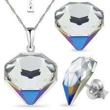 Бижута с кристали Swarovski® TILTED CHATON Crystal, Бял цвят, Колие с обеци,  Код PR S543