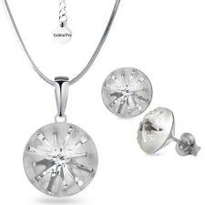 Бижута SWAROVSKI® SEA URCHIN Crystal, Бял цвят, Колие с обеци на винт ръчна изработка, Код PR S537