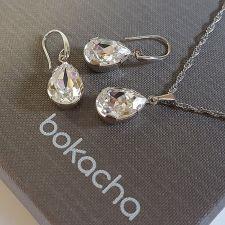 Бижута SWAROVSKI® PEAR 14мм Crystal, Бял цвят, Колие и обеци, Код PR S569